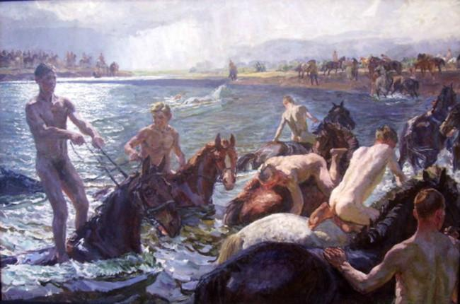 A. Plastov, Banho de cavalos, 1938.