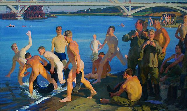 D. Jilinski, Soldados banhando-se. Construtores de uma ponte, 1959.